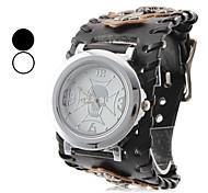 Men's Crossing Style Leather Analog Quartz Wrist Watch (Black)