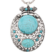 Vintage Oval Turquoise Hollow Out Pendant Necklace