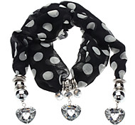 Z&X®  White-on-Black Heart Shape Pendant Scarf Necklace