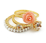 Pearl And Flowers Ring Combination(3PCS)