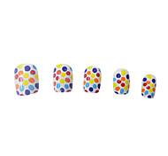 24PCS Full Cover Weiß 2D Spot-Deko Kunststoff Nail Art Tips