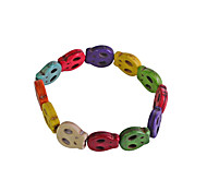 Lureme®1.5mm Colorful Flat Skull Bracelet