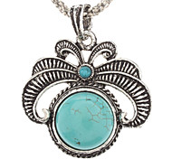Vintage Flower Pattern Turquoise Pendant Necklace