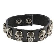 Crossbones Black Leather Bracelet