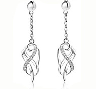 Silk Ribbon Surround Fashion Silver Plated Earrings