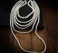 Layered Collar de Perlas de la Mujer