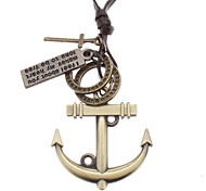 Anchor Many Parts Adjustable Leather Necklace