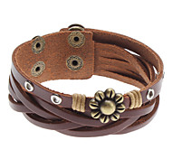 Z&X®  8 Petal Flower Cross Rivet Leather Bracelet