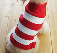 patrón de cobertura suéter de la raya del estilo collar para perros gatos (rojo, xs-m)