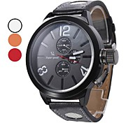 Men's Quartz PU Analog Wrist Watch (Black)
