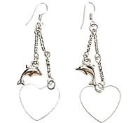 Dolphin Peach Heart Shape Platinum Ohrringe