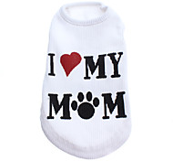 Dog Shirt / T-Shirt White Dog Clothes Spring/Fall Letter & Number