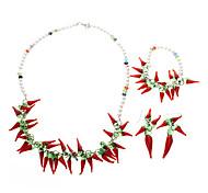 Chili Bracelect en forma de esmalte de color y collar con perlas