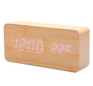 Khaki Wooden Design Blue Light Desktop Alarm Clock Calendar Thermometer (USB/4xAA)