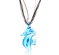 Sea Horse Glaze Ribbon Necklace (Assorted Color)