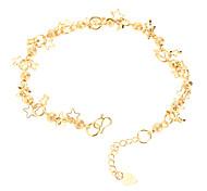 Dull Polish Bead Pentagram Gold-plated Anklet