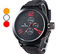 Hommes silicone style décontracté analogique montre-bracelet à quartz (noir)