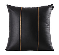Gold Zipper Black Leather Decorative Pillow Cover