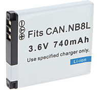 Digital Video Battery Replace Canon NB-8L for Canon A3300 and More (3.6v, 740 mAh)
