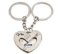 1-Pair Aluminum Heart Shape Couple Keychain