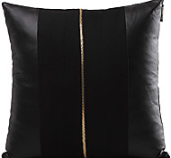 Traditional Solid Faux Leather Decorative Pillow Cover