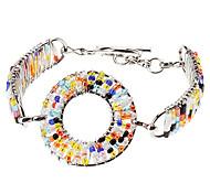 Nouveau design de mode coloré combinaison Géométrie évider Boucles d'oreilles en alliage tricot