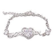 "Alloy ""Love you "" Pattern Rhinestone Bracelet"
