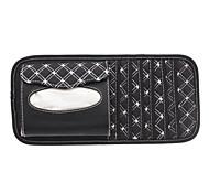 Lattice Pattern Senior Multifunctional PU Leather Car Sun Visor CD Clip with Tissue Box