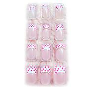24PCS 3D Pearl Nail Art Tips Application of Gum Luxurious Bride Pink Spot