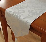 Classique Polyester Jacquard Gris Chemins de table floral
