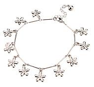 Five Leaf Flower Pendant Metal Anklet(Platinum)