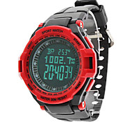 Men's Air Pressure Multi-Functional Red Case Black Rubber Band Digital Wrist Watch