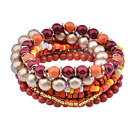 Bohemian Gold Plated  Wooden Bead Bracelet Set