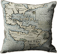 Ilha de Mapa Imprimir Linen Tampa Pillow Decorative Retro