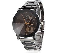Unisex Lovers Pattern Black Alloy Quartz Wrist Watch Cool Watch Unique Watch