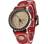 Women's Leather Analog Quartz Wrist Watch (Red)