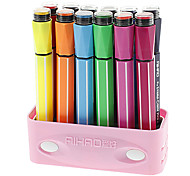 12 couleurs stylos de couleur de l'eau avec des bouchons chevalières fixés (couleur aléatoire)