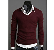 Herren V-Ausschnitt Basic-Solid Color Sweater
