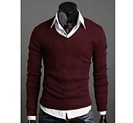 Uomo con scollo a V maglione di base di colore solido