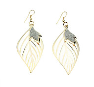 Flash Golden Leaf-shaped Earrings