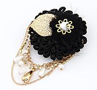 teste padrão de flor do laço do ouro das mulheres banhado liga broche