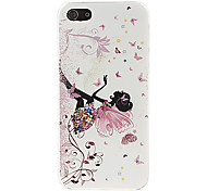 Butterfly and Girl Pattern Hard Case for iPhone 5/5S