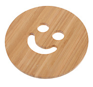 "5.7"" Smile Face Pattern Bamboo Coaster"