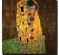 Поцелуй Густава Климта Известные натянутым холстом для печати