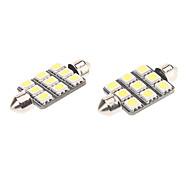 Festoon 41mm 1.5W 9x5050SMD Natural White Light LED Bulb for Car Reading Lamp (12V, 1-Pair)