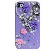 Zirkon Perle Blumenmuster harter Fall für iPhone 4/4S