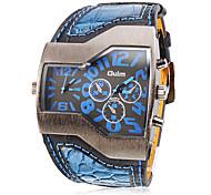Oulm Мужской Армейские часы Наручные часы С двумя часовыми поясами Кварцевый PU Группа Черный Белый Синий Красный Желтый