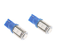 T10 1W 9x5050SMD Blue Light Bulb LED per Strumento / Side Car luce di posizione (12V, 1-Pair)