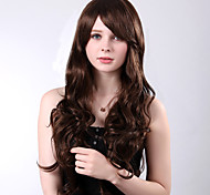 долго высококачественные синтетические коричневые фигурные сторона взрывы парики термостойкие