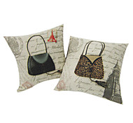 Set Of 4 Modern Bag Cotton/Linen Decorative Pillow Cover